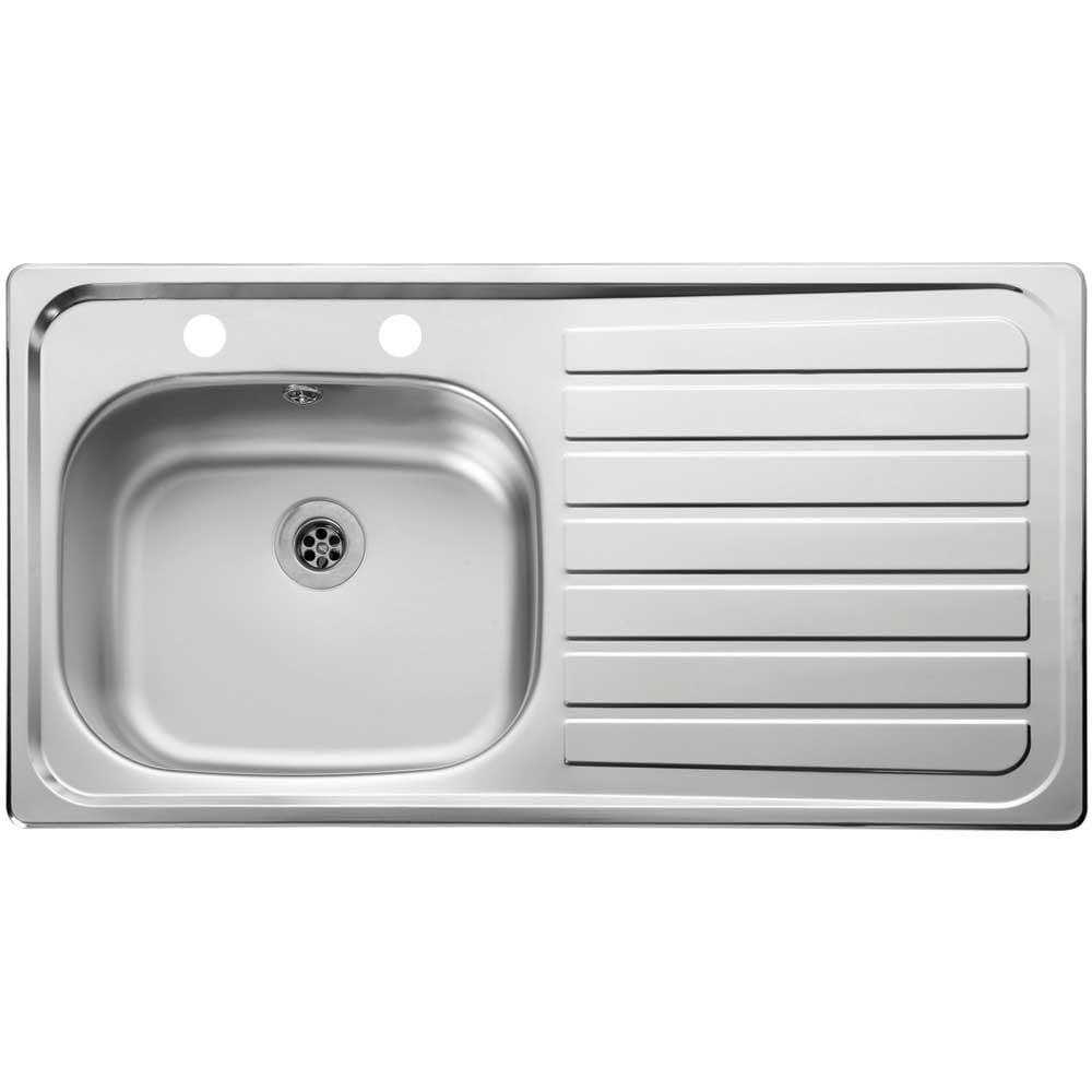 Leisure Lexin 1 0 Bowl 2 Tap Hole Satin Stainless Steel Kitchen Sink Rhd Kitchen From Taps Uk