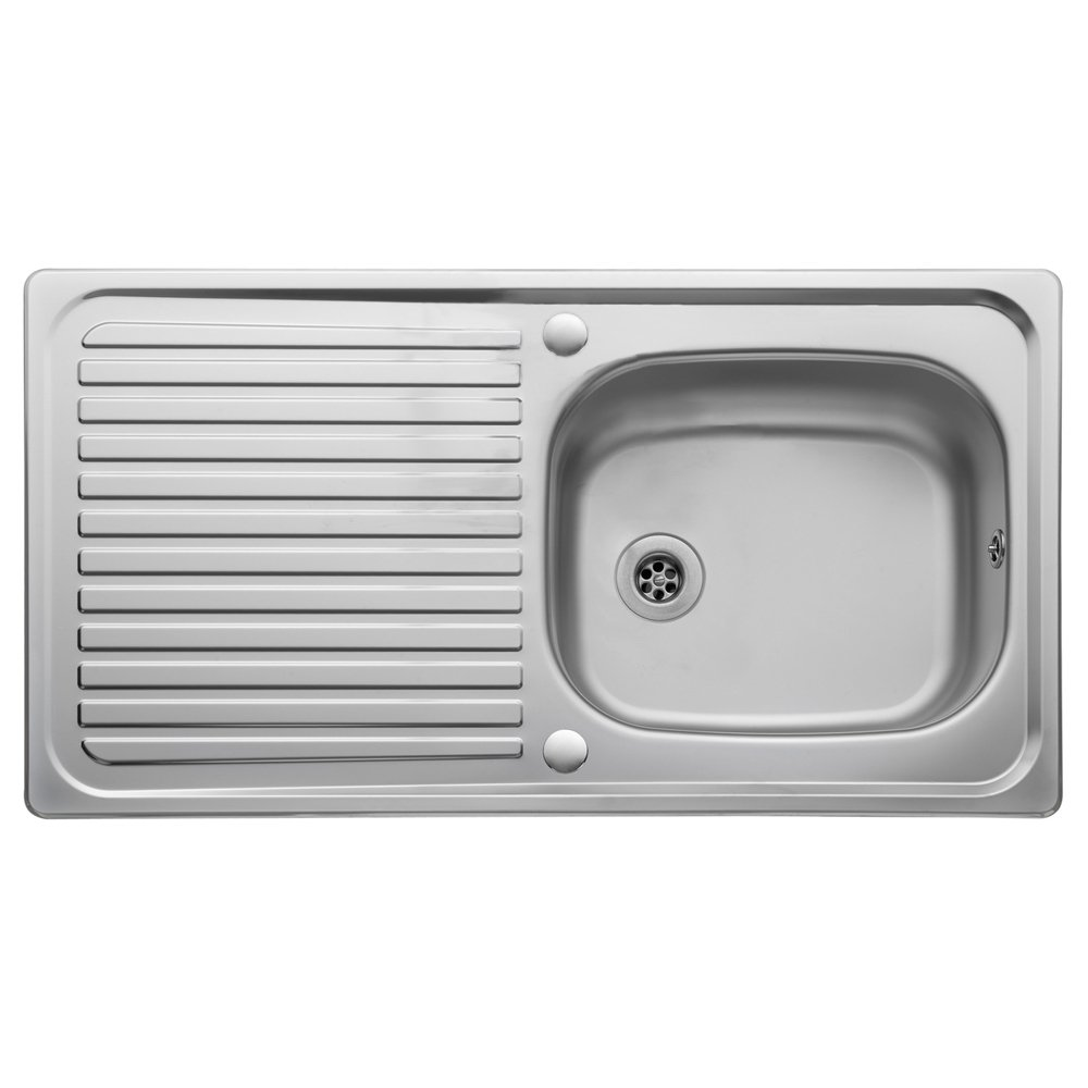 leisure linear 10 bowl polished stainless steel kitchen sink waste lr950 p15960 124172 zoom