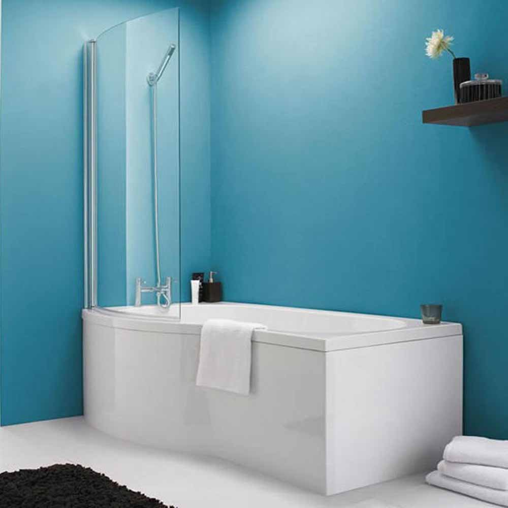 baths none liberty p shape left hand shower bath front panel screen 1500mm