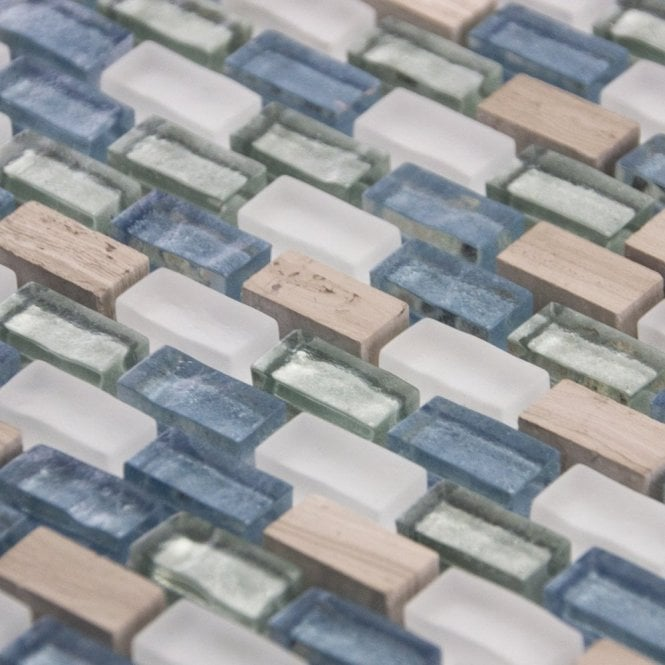 Duck Egg & Stone Mix Glass Mosaic Wall Tiles Cut Sample Brown Luxury Grey