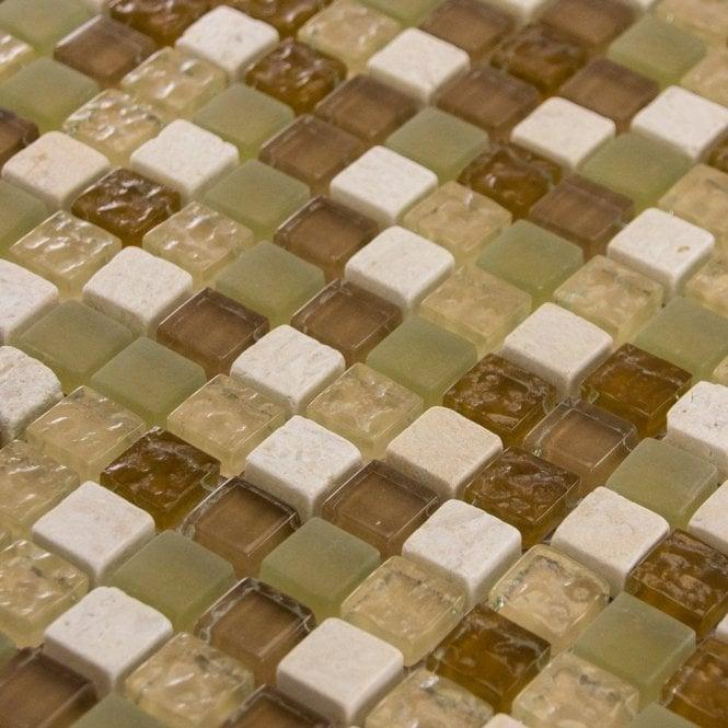 Ivory Stone Mix Gl Mosaic Wall