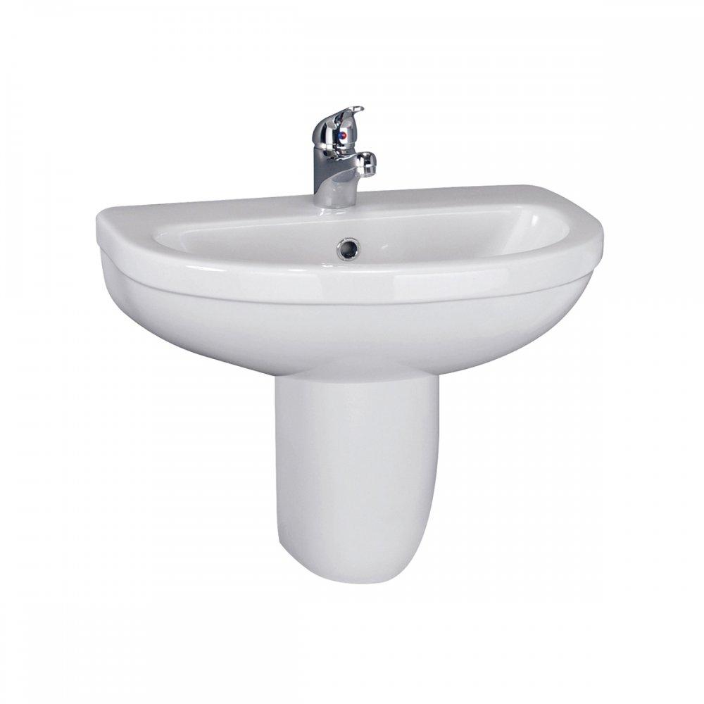 Mabel 550mm 1 Tap Hole White Ceramic Bathroom Basin & Semi Pedestal ...