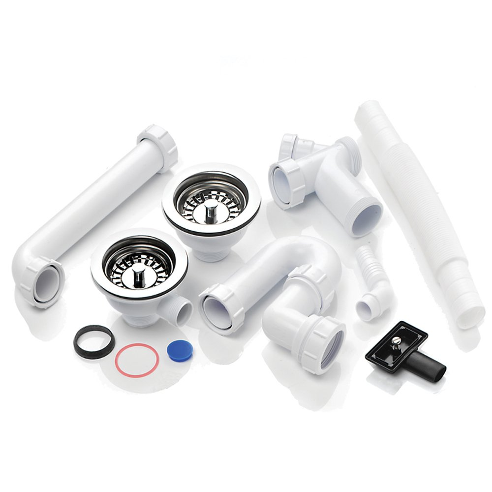 mcalpine 15 bowl basket strainer waste plumbing kit with overflow - Kitchen Sink Waste Fittings