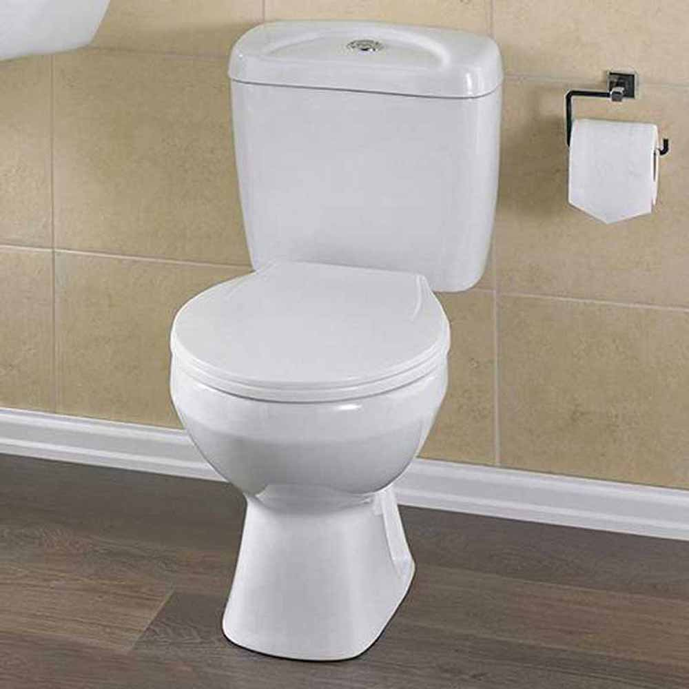 Melbourne close coupled wc toilet pan cistern seat none from taps