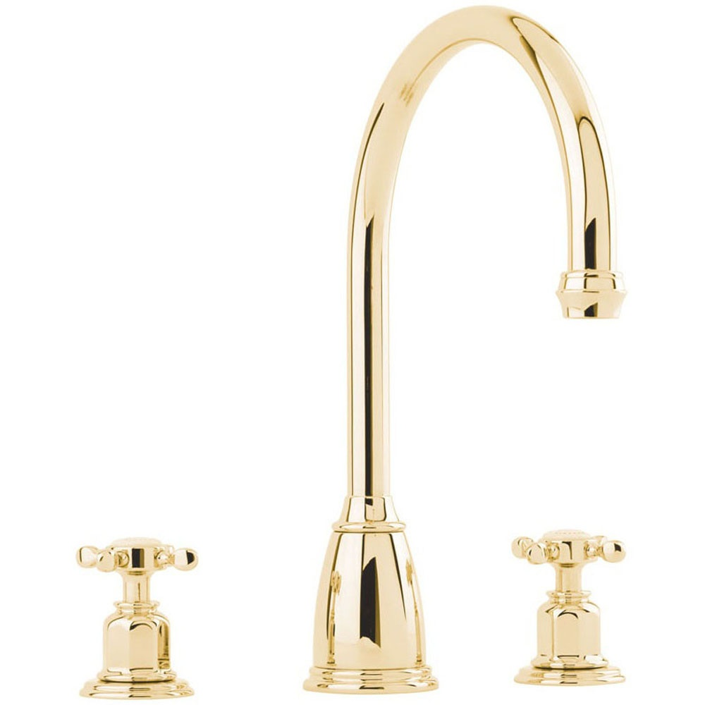 Perrin & Rowe Athenian Dual Lever Gold Kitchen Sink Mixer