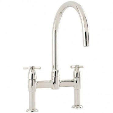 Perrin & Rowe Perrin & Rowe Io Bridge Cross Handle Nickel Kitchen Sink Mixer Tap 4292