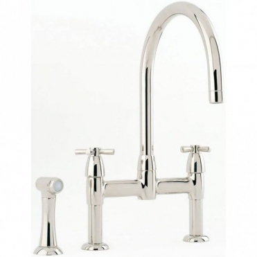 Perrin & Rowe Perrin & Rowe Io Bridge Cross Handle Nickel Kitchen Sink Mixer Tap & Spray 4272