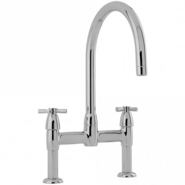 Perrin & Rowe Perrin & Rowe Io Bridge Cross Handle Pewter Kitchen Sink Mixer Tap 4292