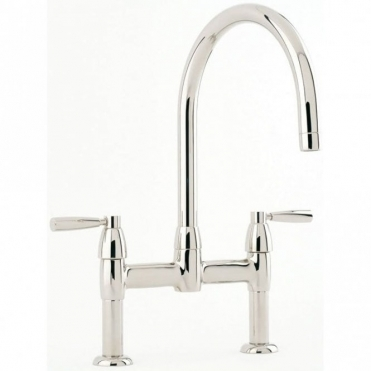 Perrin & Rowe Perrin & Rowe Io Bridge Lever Handle Nickel Kitchen Sink Mixer Tap 4293