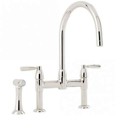 Perrin & Rowe Perrin & Rowe Io Bridge Lever Handle Nickel Kitchen Sink Mixer Tap & Spray 4273