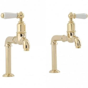 Perrin & Rowe Perrin & Rowe Mayan Bibcocks Single Lever Gold Kitchen Sink Tap 4332IGWPC