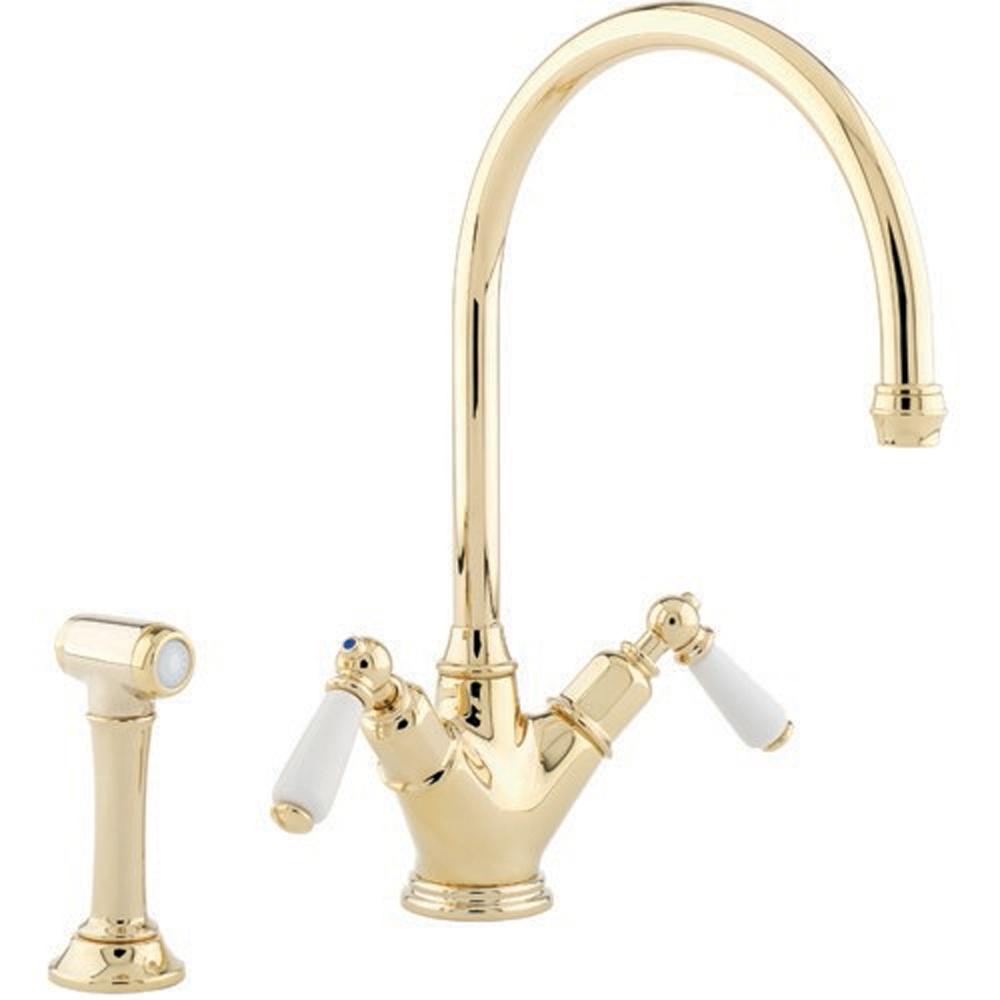Perrin & Rowe Minoan Dual Lever Gold Kitchen Sink Mixer
