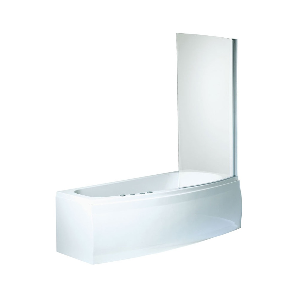 Phoenix Compact White Right Hand Shower Bath Bath Screen