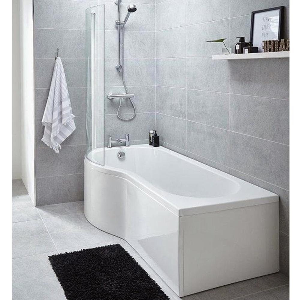 Premier Curved P Shape 1500 Shower Bath, Fixed Screen & Acrylic ...