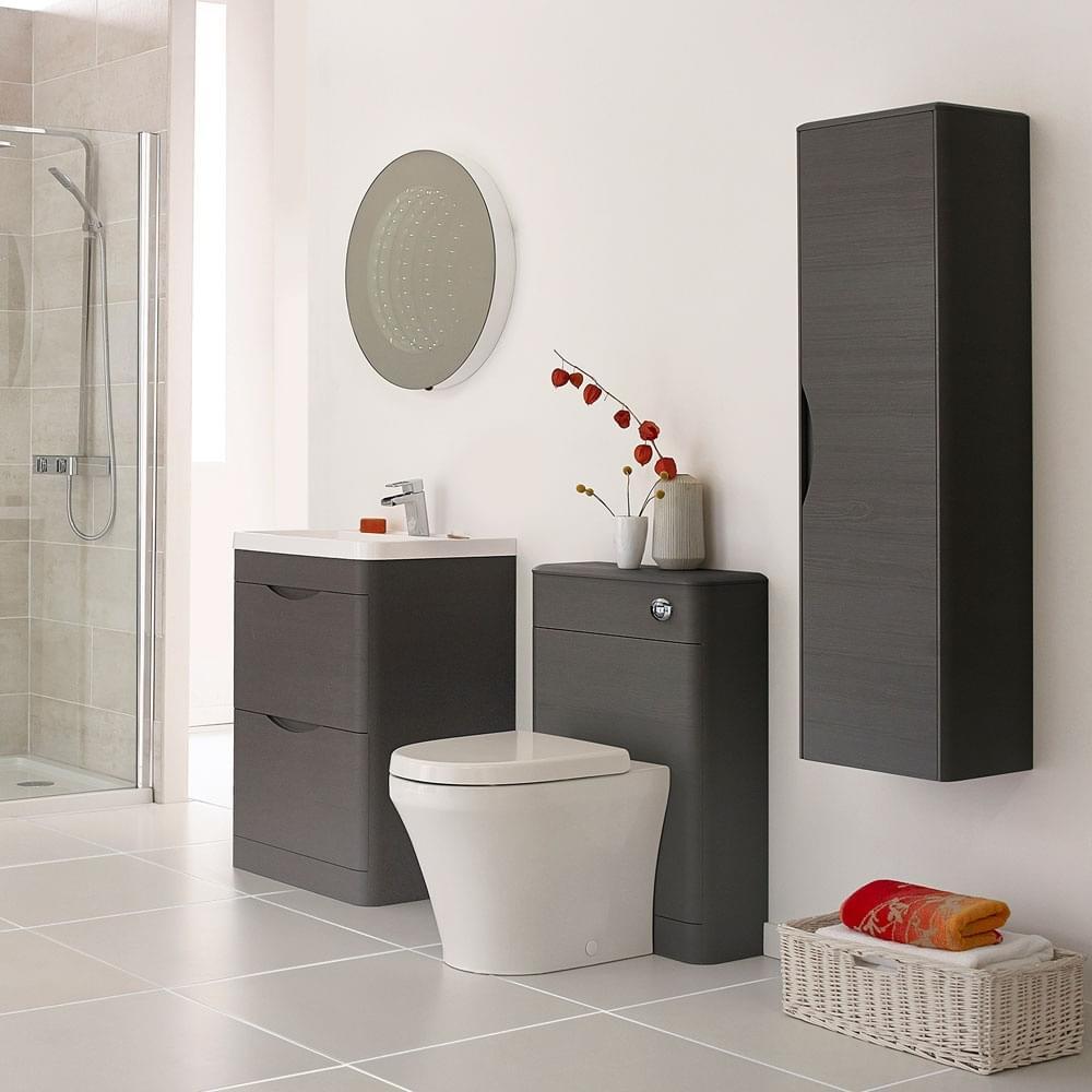 Premier Eclipse Midnight Grey 800mm Basin Bathroom Furniture Solution Pack