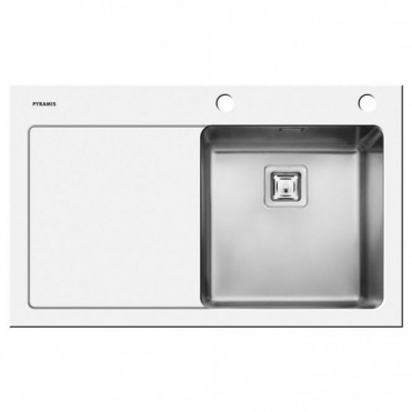 Pyramis Crystalon 1.0 Bowl White Glass & Stainless Steel Kitchen Sink LHD