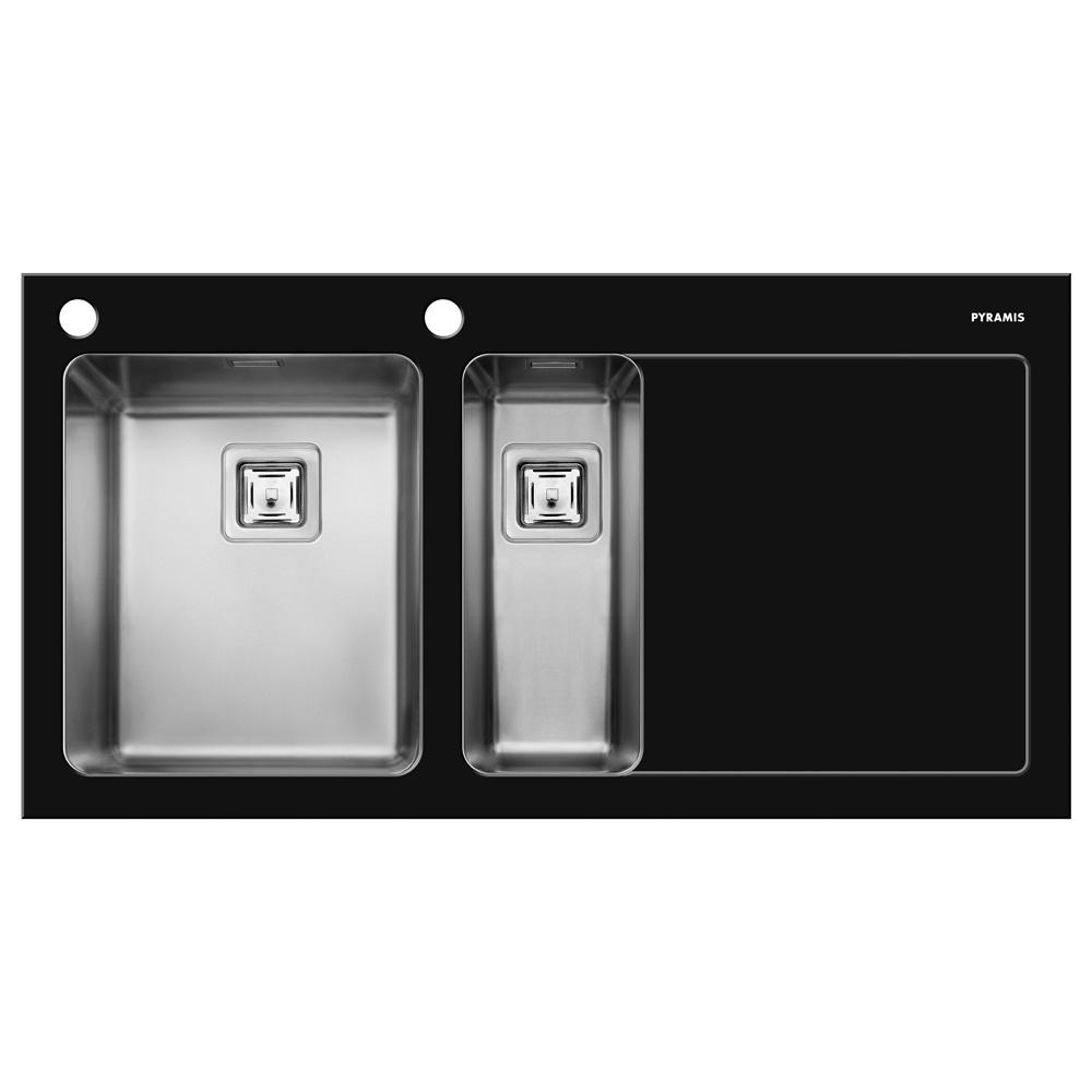 Pyramis Crystalon 1 5 Bowl Black Glass Stainless Steel Kitchen Sink Rhd