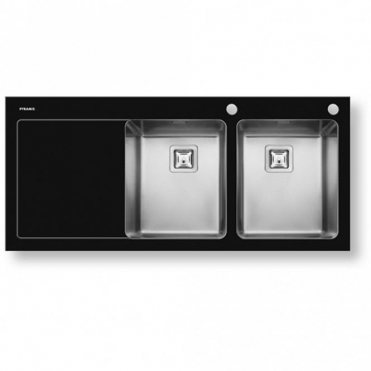 Pyramis Crystalon 2.0 Bowl Black Glass & Stainless Steel Kitchen Sink LHD