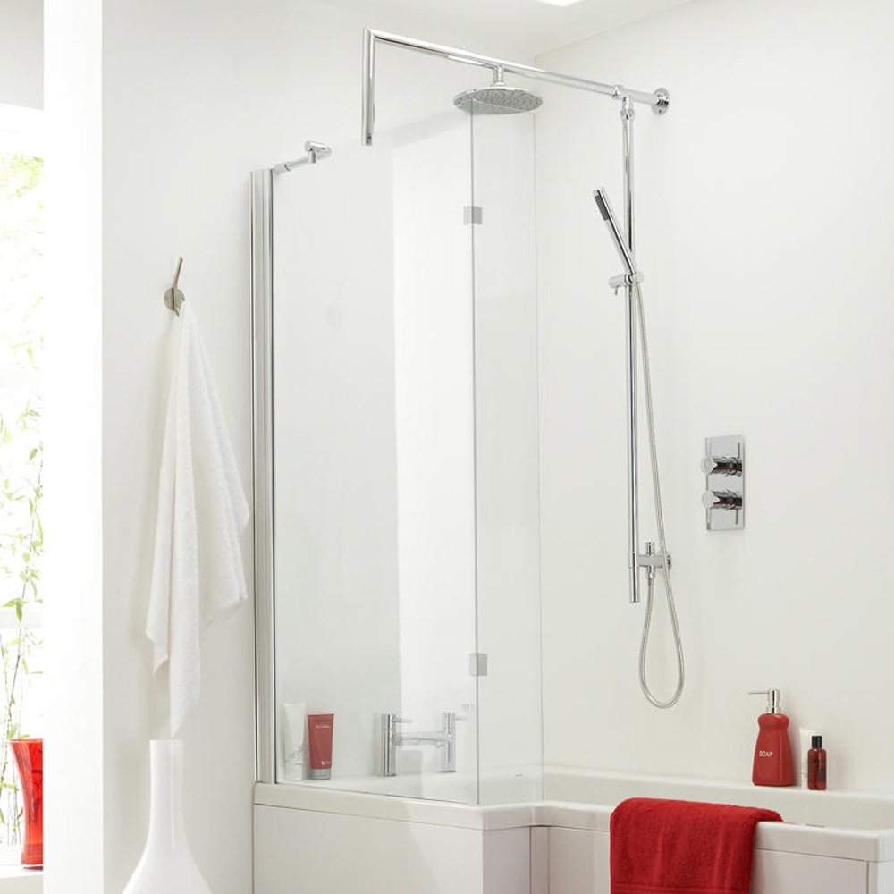 28 l shaped shower bath with hinged screen milan shower l shaped shower bath with hinged screen quattro l shape hinged bath shower screen and hinge
