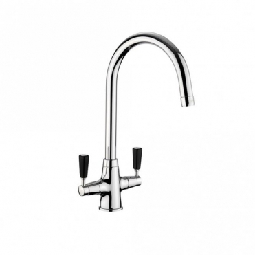 Rangemaster Aquaclassic 2 Chrome Kitchen Sink Mixer Tap With Black Handles