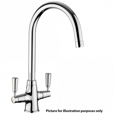Rangemaster Aquaclassic Brushed Twin Lever Kitchen Sink Mixer Tap