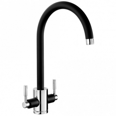 Rangemaster Aquatrend Black & Brushed Kitchen Sink Mixer Tap TRE1BLBF