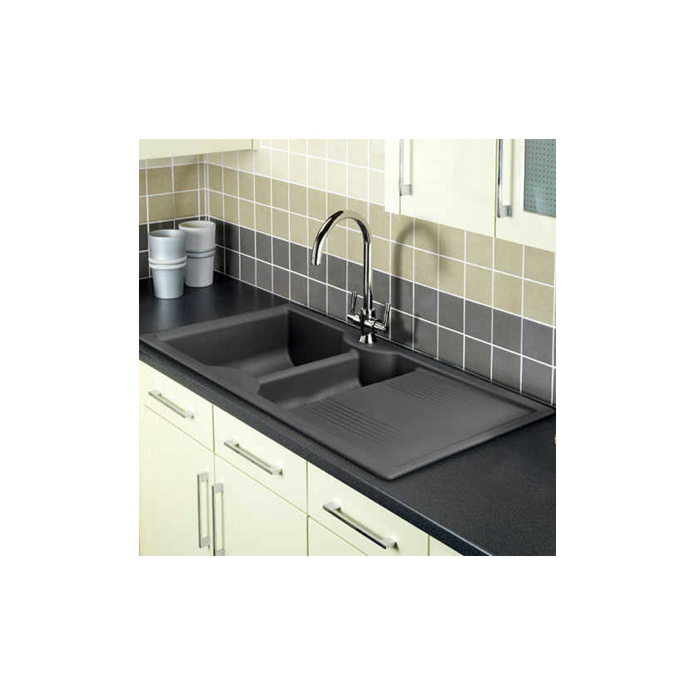 Rangemaster Kitchen Sinks Granite kitchen sinks uk cda 1 0 bowl black granite kitchen sink rangemaster lunar 1 5 bowl neostone granite grey kitchen workwithnaturefo
