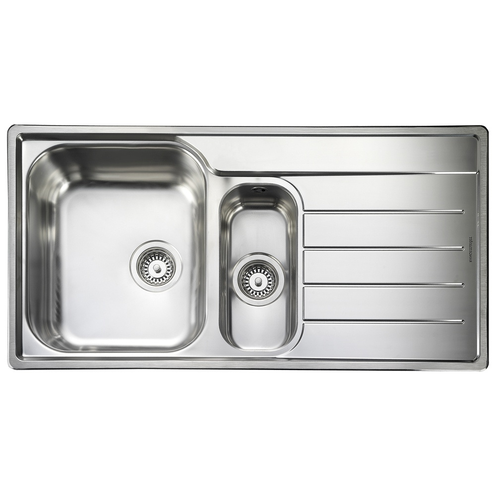 rangemaster oakland 1 5 bowl brushed stainless steel kitchen sink rh