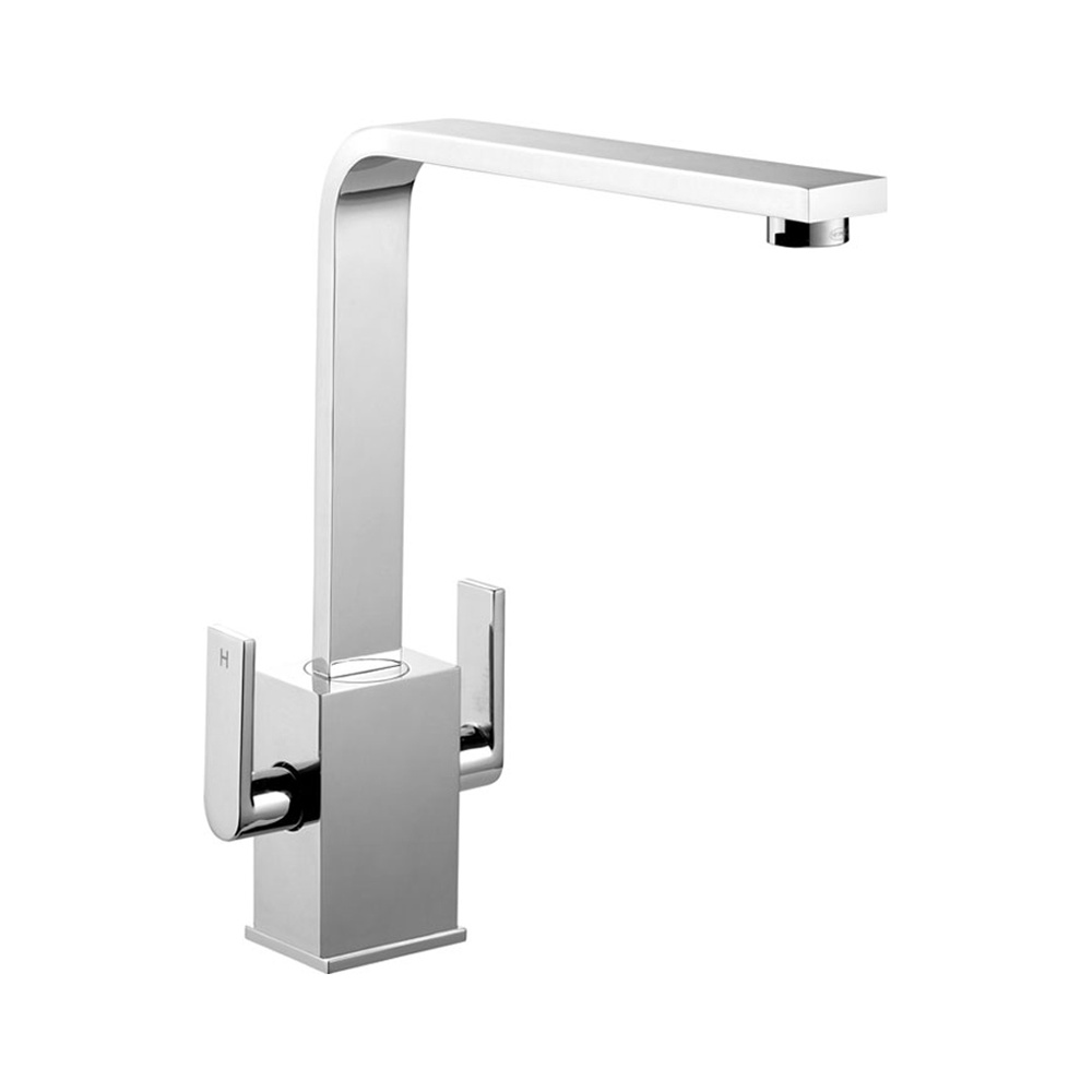 Taps Uk Kitchen Sinks Part - 32: Rangemaster Quadrant Contemporary Brushed Kitchen Sink Mixer Tap TQC1BF