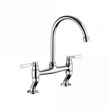Rangemaster Traditional Bridge Chrome Kitchen Sink Mixer Tap With White Handles