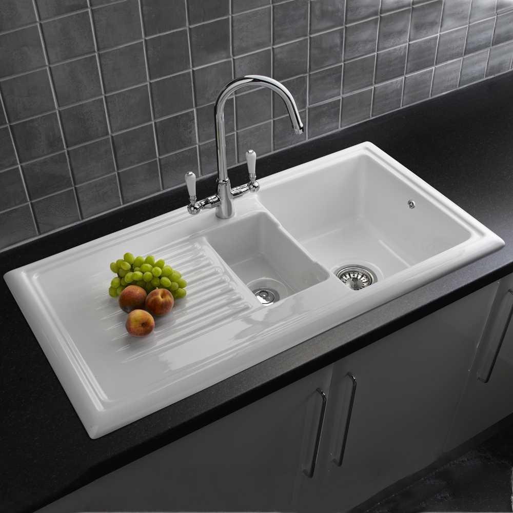 Reginox 1 5 Bowl White Ceramic Reversible Kitchen Sink Waste Rl301cw