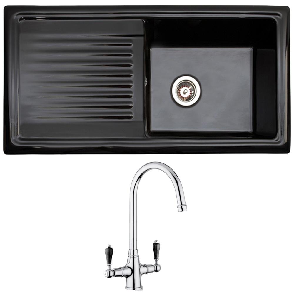 Reginox 1.0 Bowl Black Ceramic Kitchen Sink, Waste & Reginox ...