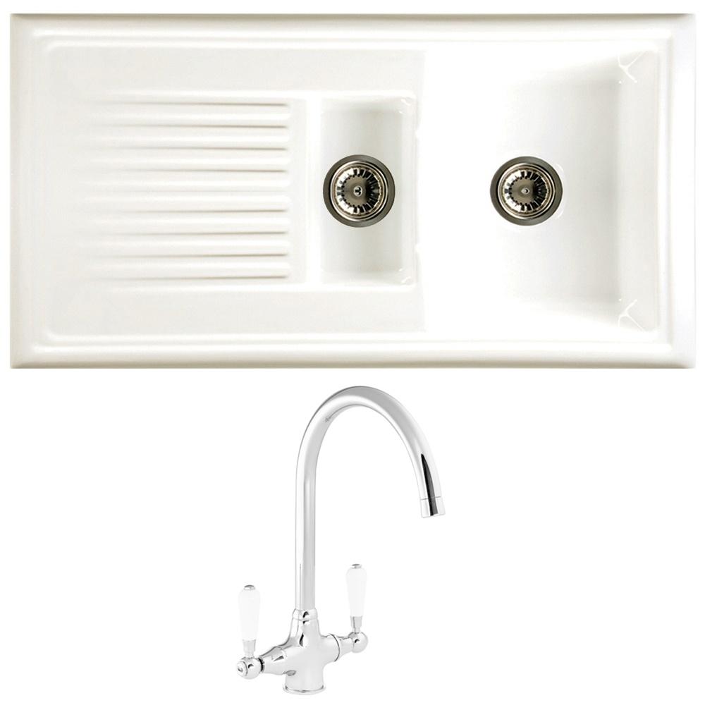 Reginox 1.5 Bowl White Ceramic Kitchen Sink RL301CW Waste & Reginox ...