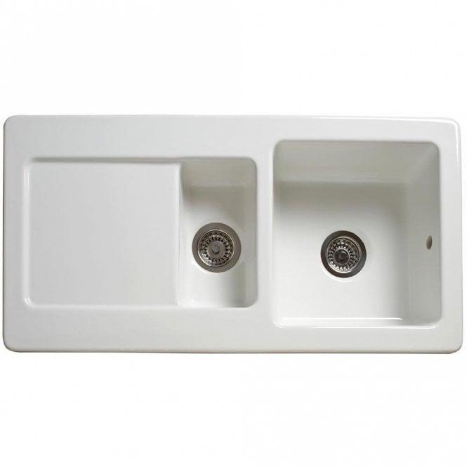 Reginox 1.5 Bowl White Ceramic Reversible Kitchen Sink & Waste ...
