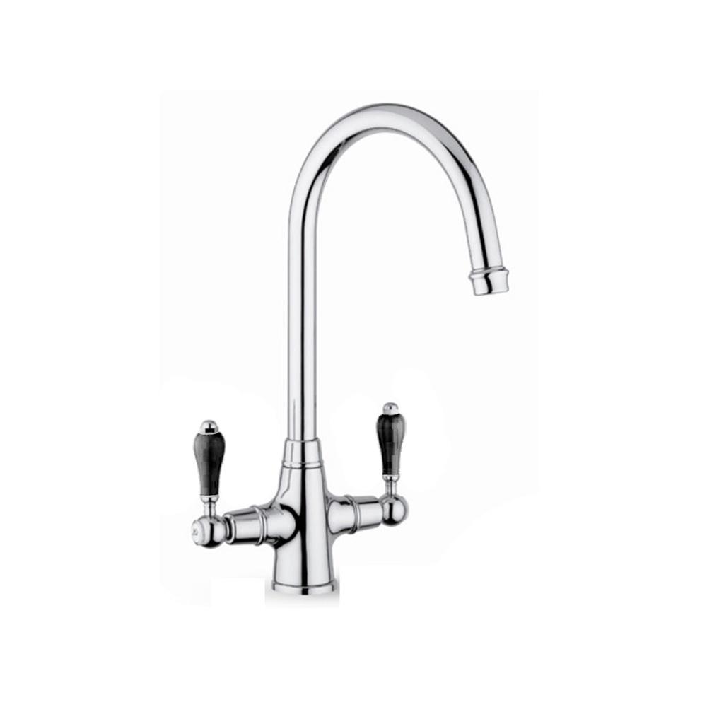 reginox brooklyn chrome traditional double black handle kitchen tap