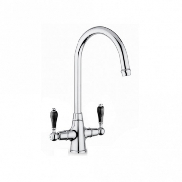 Reginox Brooklyn Chrome Traditional Double Black Handle Kitchen Tap