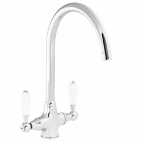 Reginox Elbe Chrome Traditional Twin Lever Kitchen Sink Mixer Tap