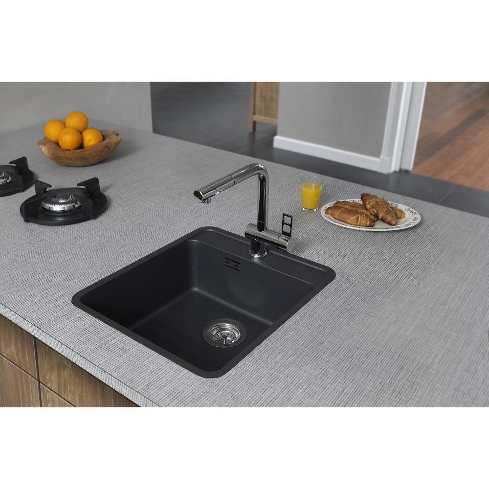 Reginox Ohio 40x40 1 0 Bowl Granite Black Kitchen Sink Waste