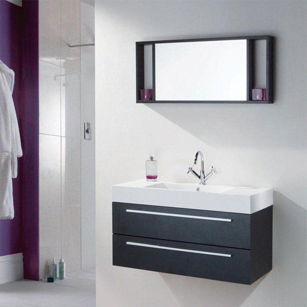 relax black wood 1000mm wall mounted bathroom cabinet basin mirror