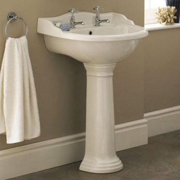 None Ryther Ceramic 600mm 2th Large Basin & Pedestal