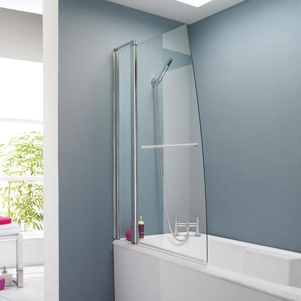 sail bath shower screen hinged panel with rail 1400mm