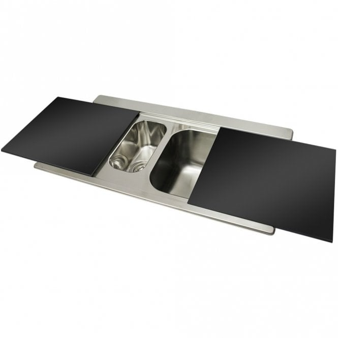 Smeg Iris 1.5 Bowl Brushed Stainless Steel Kitchen Sink & Black ...
