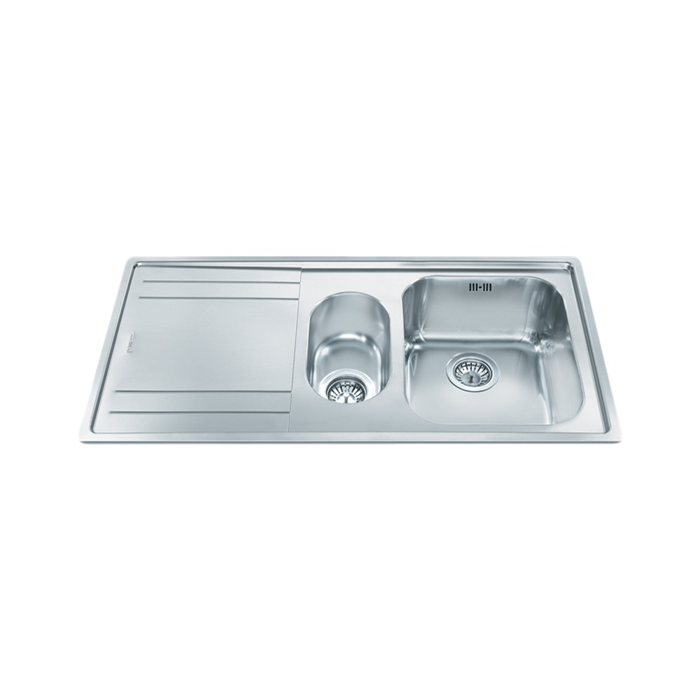Smeg Rigae 1.5 Bowl Brushed Stainless Steel Kitchen Sink & Waste ...