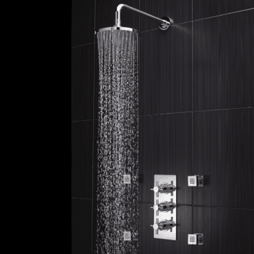 None Torc Concealed Crosshead Chrome Thermostatic Shower with Body Jets