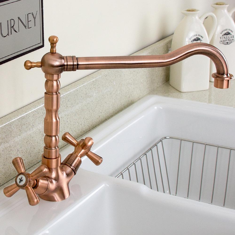 Twin Kitchen Sink : Traditional Copper Twin Handle Swivel Spout Kitchen Sink Mixer Tap ...