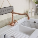 Traditional Copper Twin Handle Swivel Spout Kitchen Sink Mixer Tap 25411CO