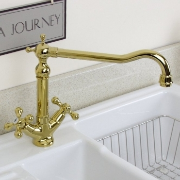 None Traditional English Gold Twin Handle Swivel Spout Kitchen Sink Mixer Tap 25441g