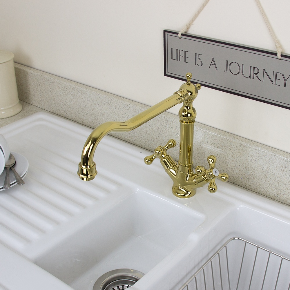 Twin Kitchen Sink : Traditional English Gold Twin Handle Swivel Spout Kitchen Sink Mixer ...