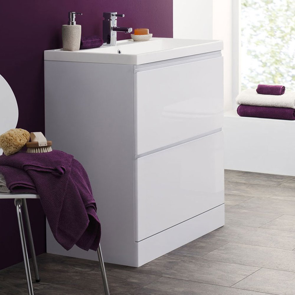 tribute 800mm floor standing 2 drawer bathroom cabinet 1th basin