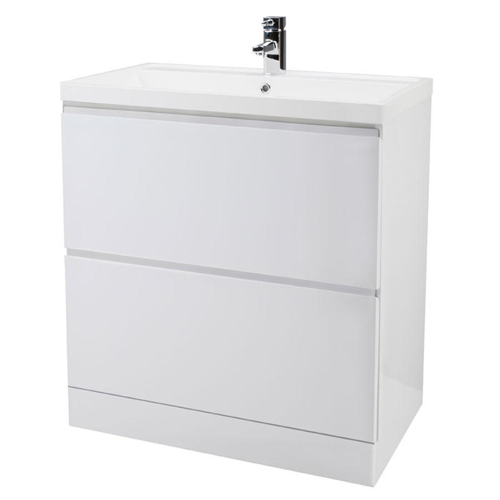 tribute 800mm floor standing 2 drawer bathroom cabinet